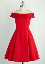 Plain Red One Piece Dress