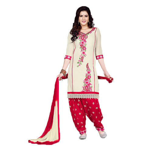 b38c69dfe3 Cotton Cream And Red Patiala Suit at Rs 900 /piece | Null Bazar ...