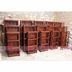 Living Room Display Rack Brown Solid Wooden Bookshelf Set Furniture, Warranty: Manufacturers Warranty