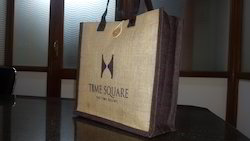 Jute Promotional Bag with Leather Handle
