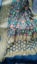 Silk Blue Pure Zari Minakari Banarasi Bandhani Dupatta