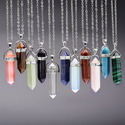 Natural Gemstone Pointed Pendant Necklace