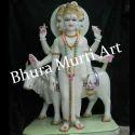 Painted White Marble Dattatreya Statue