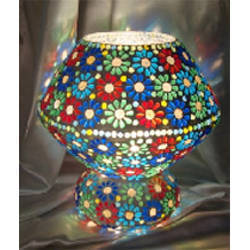 Mosaic Work Glass Lamp