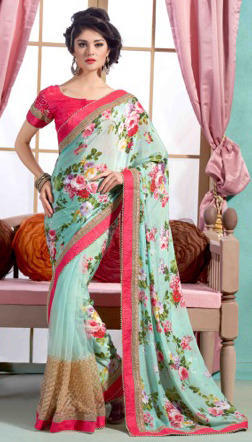 93b80ab75e803 Silk Printed Fancy Sarees With Blouse Piece