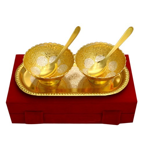 Diwali Gift- Gold Plated Designer Bowl Set