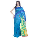 Turquoise Hand Painted Silk Saree