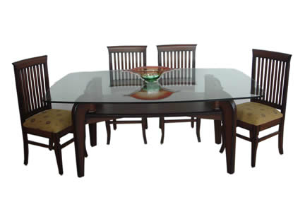 Square Dining Table Teak Wood Glass Top at Rs 24390 piece Square
