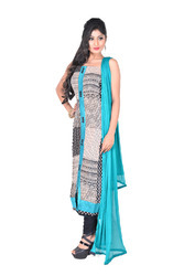 Black & Sea-Green Georgette Semi-Stitched Salwar Suit
