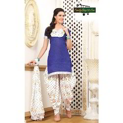 Cotton Printed Unstitched Patiala Suit Dress Material