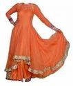Orange Solid Anarkali Suits