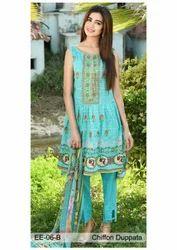 Chiffon Pakistani Designer Embroidered Suit, Machine wash