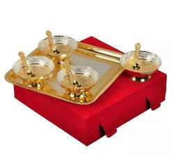 Diwali Gift- Silver Plated 9 Pcs Bowl Set