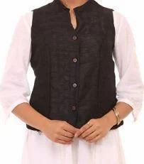 Black Art Silk Straight Jacket