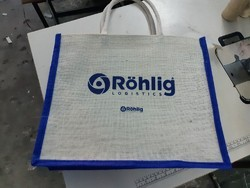 White And Blue Shopping Bag Jute Bags, Capacity: 8 Kg, Size/Dimension: 16x13x4