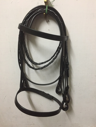 Black Leather Horse Bridal Western Halter