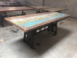 Industrial Heavy Crank Dinning Table with Reclaimed Wood Top