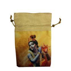 Golden, Yellow Etc. Silk, Cotton Digital Printed Potli Bag