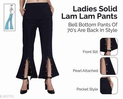 Formal Wear Plain Ladies Solid Lam Pants