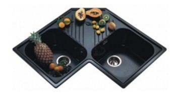 Nirali Quartz Atlantic Kitchen Sink Black Granite