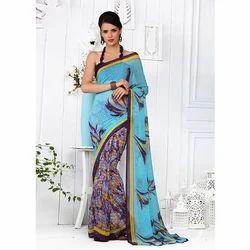 Pure Chiffon Multicolor Designer Chiffon Saree