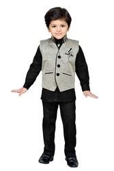 Boys Grey Shirt Pants And Waistcoat Suit Set