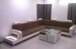 Sofa With LED Light Side Table