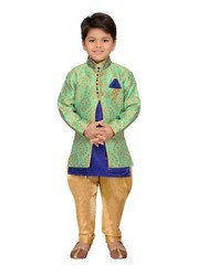 Green And Gold Blend Silk Sherwani Suit Set For Boys