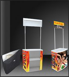 Aluminium And MDF Plastic Promo Table, Size: 32.5 X 20 X 78 Inches