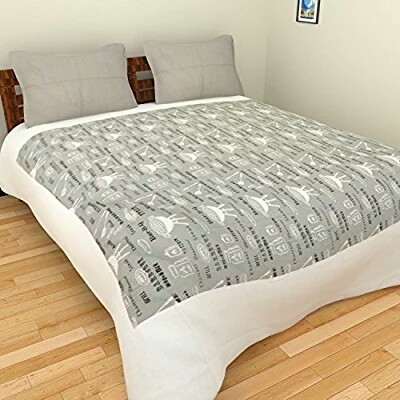 Pure Cotton White U0026 Grey Cotton Printed Bed Sheet, Size: Double Bedsheet