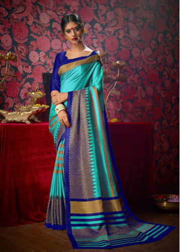 10452e9276 Party Wear Printed khadi silk sarees, 6 m (with blouse piece), Construction