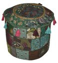 Round Patchwork Ottoman Bohemian Indian Pouf Cover