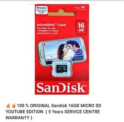Sandisk 16gb Memory Card, Memory Size: 16GB