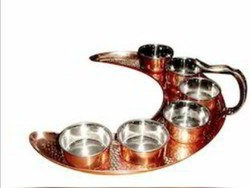 K&T Hammered Moon Thali Set Copper & Stainless Steel, Packaging Type: Box, Size: 13inches