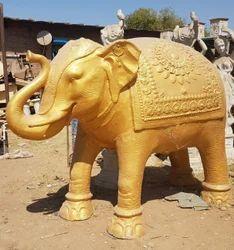 Golden Elephant Statue, for Exterior Decor, Size/dimension: 5 Ftx4 Ft