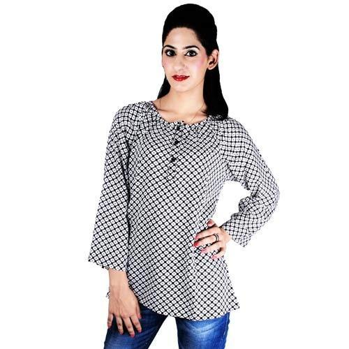 Reyon Printed Ladies Tops, Female Tops, Women Tops,  -5404