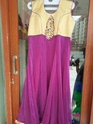 Galaxy Material Purple Anarkali Suits