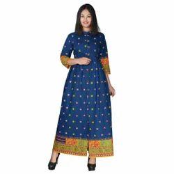 Cotton Full Length Blue Maxi Dress