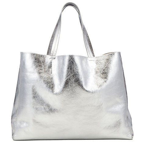 3b9a85e63b02 Siddharth Silver Metallic Leather Tote Bag