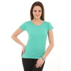 Ladies Light Green Round Neck T-Shirts