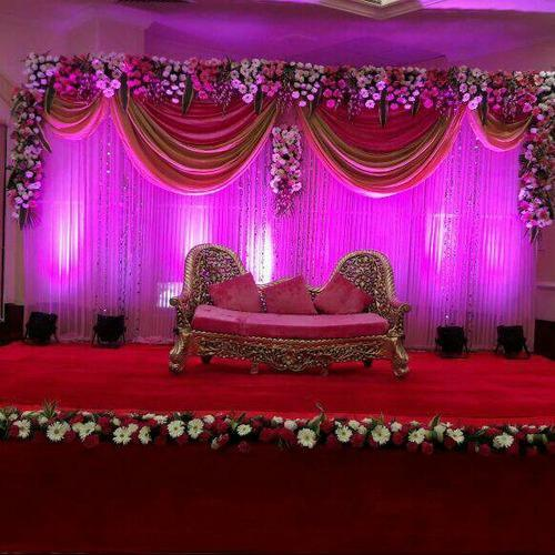 Wedding stage flower decoration images wedding dress for Wedding decoration images
