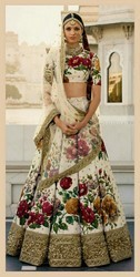 Floral Printed Cream Color Fine Art Silk Lehenga