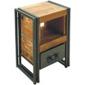Reclaimed Wood And Ms Iron K D Craft Exports Industrial Bedside, For Living Home, Number Of Drawer: 1
