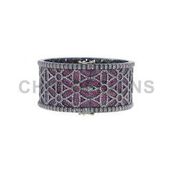 Ruby Gemstone Diamond Cuff Bangle