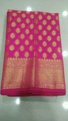 Wedding Wear Body Designed Cotton Banarasi Saree (Jari Embroidery), With Blouse Piece