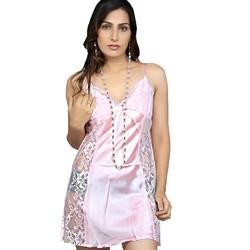 Pink Power Net Night Frock 549