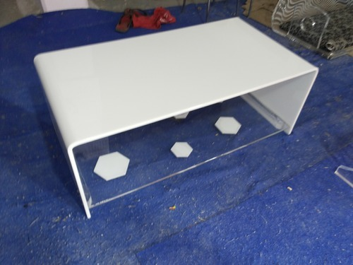 Acrylic Center Table In Milky White