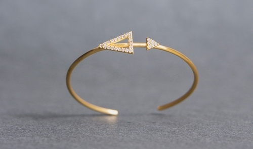 Trendy Designer Gold Plated Bangle with White CZ