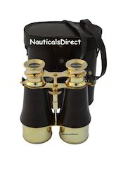 Vintage Brass Nautical Binocular with Leather Case