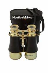 Vintage Brass Nautical Binocular with Leather Case